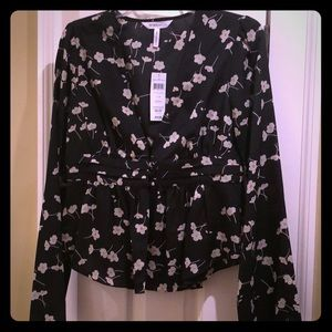 BCBG Generation - Black Floral V-neck Blouse